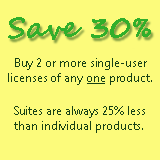 Save 30% buying single-user licenses of the same product for 2 or more people